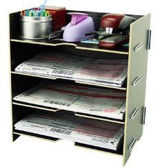 Menu Life Desk File Letter Trays File Desk File Storage Cabinet Box A5 Size (Black)