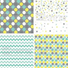 Tissu enfant coupon 70x50cm motif triangles turquoise jaune gris sur fond bl - Tissus bleu turquoise ...