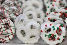 Chocolate dipped Christmas Pretzels