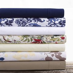 Featuring extra deep pocket sheet sets in solids and eye-catching printed patterns, these are woven from soft and ultra-fine 300 thread count 100 percent cotton with Percale weave.