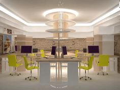 GRAD design office. love the lime green chairs