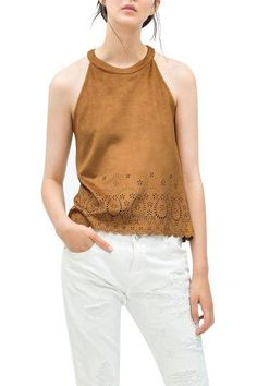 5b9324909a221 Image 2 of CUT WORK FAUX-SUEDE TOP from Zara Chunky Sandals