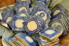 Vintage blue and white tiles Blue And White China, Blue China, Mosaic Tiles, Delft Tiles, Vintage Tile, French Vintage, Blue Tiles, White Tiles, French Country Style