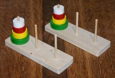 The Shed And Beyond: Stocking filler toys part 2 - Tower of Hanoi puzzle . Tower Of Hanoi, Car Games For Kids, Montessori Toys, Wooden Puzzles, Stocking Fillers, Early Learning, Allotments, Wood Turning, Baby Toys