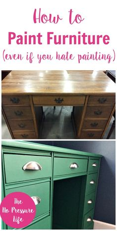 I finally learned how to paint furniture easily and pretty quickly! Great tips for painting furniture with chalk paint, and a fun green desk makeover. via @nopressurelife