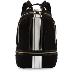 Cynthia Rowley Brody Striped Scuba/Leather Backpack ($140) ❤ liked on Polyvore featuring bags, backpacks, black, leather zip backpack, black leather backpack, cynthia rowley, black rucksack and black backpack