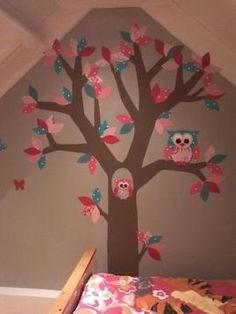 houten boom met uil voor aan de muur van karwei | wall decoration, Deco ideeën