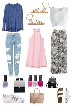 Comfy Summer by breepaige0014 on Polyvore featuring polyvore, fashion, style, MANGO, Gap, Chicwish, M&Co, Topshop, adidas, TravelSmith, Valia Gabriel, OPI and clothing