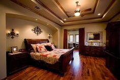 Tuscan Bedroom With Sleigh Bed And Wall Sconces : Wonderful Tuscan Interior Style