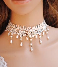White Lace Beaded Choker. Beautiful with a wedding dress.