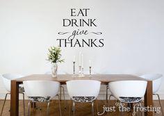 Kitchen or Dining Wall Decals - Kitchen Vinyl Lettiring - Give Thanks Wall Decal - Kitchen Decal (Larger Size)