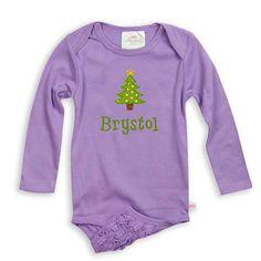 Baby Girl Personalized Dark Lavender Ruffle Bottom Cotton Onesie