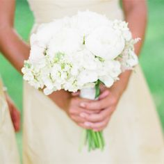 bridesmaid bouquets, neutrals, white, peonies, stock