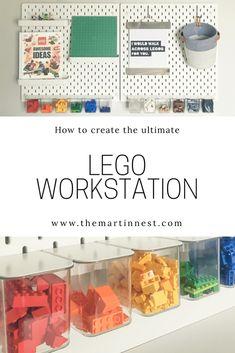 How to create a LEGO workstation Lego Desk, Lego Wall, Lego Room, Ikea Hack Kids, Ikea Kids Room, Ikea Hacks, Lego For Kids, Diy For Kids, Ikea Pegboard