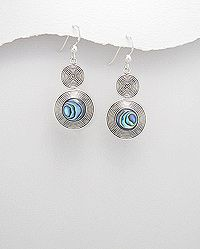 925 sterling silver earrings decorated with abalone shell