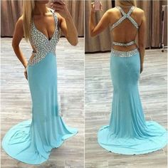 Sexy Chiffon Beaded Prom Gowns pst0444