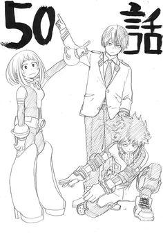 My hero academia - Uraraka Ochako, Midoriya Izuku, and Todoroki Shouto