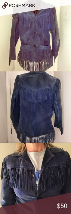 Super Vintage Suede Fringe Jacket men's 38 This is your chance to own a piece of history. I purchased this used jacket in the early 80s at NaNas punk clothing store in Santa Monica, and it was vintage then. It has seen the inside of every iconic music club in LA. Still in great shape except for fading, which I think makes it even more boho-chic. This is a men's jacket but looks awesome on women. The only tag inside says 38 so I think it's about a men's medium. I wore it well in the day as a…