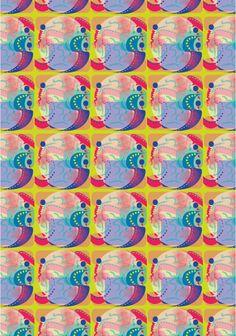 Juego de formas geometricas junto a pínceladas expresando las hermosas formas que tiene el pez mandarin.