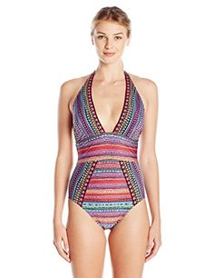 8f97746398c Gottex Women's Nefertiti Deep V Neck Halter One Piece Swi... https:/