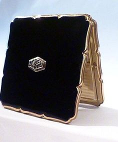 """Vintage Stratton """"Royale"""" compact with hand-set silver & marcasite ornament, c1950s"""