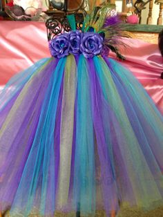 Pretty as a Peacock Tutu Dress newborn - 24 mo Flower Girl/Pageant/Birthday's/Holidays via Etsy