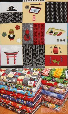 """grey, black, blue etc. cotton fabric with patchwork design with lucky cats, onigiri, mountains, bird, fish etc., Material: 100% cotton broadcloth, Fabric Width: 112cm (44"""") #Cotton #FamousPlaces #Landmarks #USAFabrics Patchwork Fabric, Patchwork Designs, Echino, Textiles, Kawaii, Modes4u, Japanese Fabric, Fabric Patterns, Grey"""