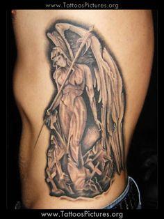 Grey Ink Gangsta Angel Tattoo On Side Rib