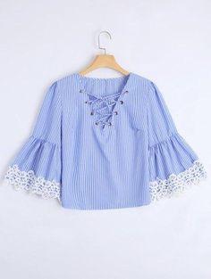 #AdoreWe #Zaful Zaful Lace Up Striped Lace Trim Blouse - AdoreWe.com
