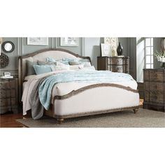 Havana Upholstered King Wing Bed - Parliament Collection