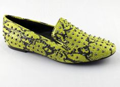 #POW Lime #Green #Flats, #genuine #leather with snake embossed and #studs! #exotic at it's best! #shoes #fashion #style (http://shopchameleon.com/shoes/flats/matiko-lee--lime-green-flats-women-oxford-loafers/)