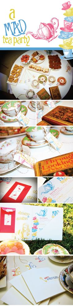 Wonderful Mad Hatter Tea details -- love the Guide to Wonderland packet idea!