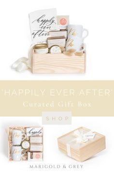 """Our """"Happily Ever After"""" gift box design is perfect for your favorite soon-to-be newlyweds. Perfect gift for engagements and even the wedding day. Also makes a fantastic client gift for wedding industry professionals."""