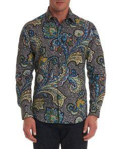 Robert Graham Paisley Print Embroidery Short Sleeve Gray Blue Sports Shirt