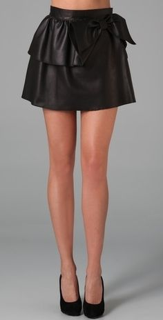RED Valentino Short Leather Skirt with Bow - StyleSays