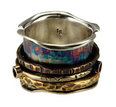 Spinner Ring, Little Rock Jewellery Studio, Robyn Cornelius, Sterling Silver, Copper, Bronze, Liver of Sulfur Patina