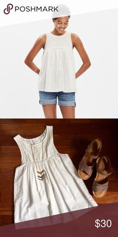 Madewell embroidered swing tank top GUC. No stains or tears. Breezy and special, this pretty tank has a swingy flyaway shape. A button-back detail and intricate embroidery give this top a found-in-a-market feel.    True to size. Cotton/viscose. Machine wash. Madewell Tops Tank Tops