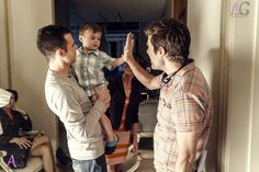 """Halt and Catch Fire - Season 3 Episode 8 """"You Are Not Safe"""". Behind the scenes, Christopher Cantwell and his son with Christopher C. Rogers"""