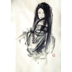 Japanese woman Geisha in kimono traditional Japanese sumi-e suibokuga... ❤ liked on Polyvore featuring home, home decor, wall art, ink painting, white wall art, white home decor, woman painting and white paintings