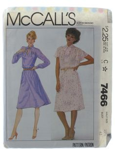 McCall Pattern No. 7466 1980s Vintage Sewing Pattern: 1981 -McCall Pattern No. 7466- Womens half size pullover dress, view A or B has front vent opening, tie collar, pleats at shoulders and at back neckline, elastic in waistline casing, flared skirt. Long sleeves A are gathered into buttoned cuffs, short, flared sleeves, B are cut bias with purchased belt.