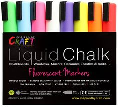 LIQUID CHALK Markers - Water based, Wet & Wipe to Erase -This Premium Chalk Ink is ideal for Chalkboards, Glass, Windows, Whiteboards, Mirrors, Kids, Promotional Activities, Crafts & more -Set 8, 6mm Chisel Tip pens -Bright Neon Colors -white, red, pink etc. Inspired By Craft http://smile.amazon.com/dp/B00DUQFTT8/ref=cm_sw_r_pi_dp_6.Ydub017ZRS7