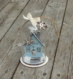 Bell jars seems to be the trend this Christmas. Here, I have mounted a little house inside the bell jar, as part of Hobbykunst's Christmas. The Bell Jar, House Inside, Christmas Scenes, Little Houses, Decorative Bells, Bird, Outdoor Decor, Home Decor, Tiny Houses