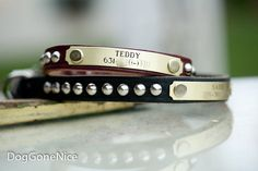 Studded collar for the little dog. This collar is 1/2 inch wide and we have embellished it with silver cone studs and name plate. Made in the USA.