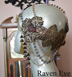 If I had the money, this would be mine! Art Nouveau Headdress Mucha Goddess Vintage by ravenevejewelry