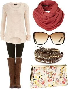 Floral little clutch purse, black leggings, brown cloth boots and a light tinted knitted sweater with some sunglasses, beaded bracelets and a peach colored scarf