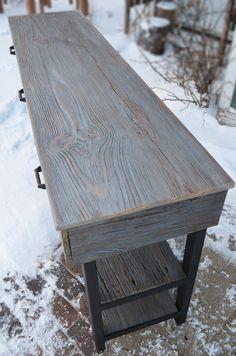 aa174faf00ff Rustic oak industrial dining console - Abodeacious