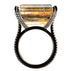 Emerald-cut Rutilated Quartz & Diamond Rings Love this ring www.finditforweddings.com