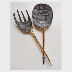 Porcelain salad fork & spoon / suzanne sullivan ceramics