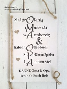 Danke Oma & Opa (Midi) Shabby chic, vintage style signs for all occasions, personalized gift ideas t Birthday Messages, Funny Birthday Cards, Birthday Greeting Cards, Birthday Quotes, Birthday Greetings, Greeting Cards Handmade, Happy Birthday, Birthday Ideas, Birthday Images