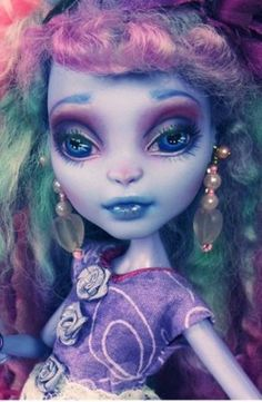 Custom Monster High Create A Sea Monster Doll Repaint Faceup Mohair OOAK New Cam | eBay